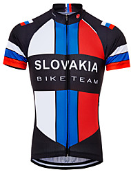 cheap -21Grams Slovakia National Flag Men's Short Sleeve Cycling Jersey - Sky Blue+White Bike Top UV Resistant Breathable Quick Dry Sports Terylene Mountain Bike MTB Road Bike Cycling Clothing Apparel