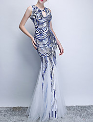 cheap -Mermaid / Trumpet Jewel Neck Floor Length Polyester Sexy / Blue Engagement / Formal Evening Dress with Sequin / Appliques 2020