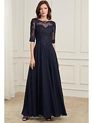 cheap -A-Line Jewel Neck Floor Length Polyester / Tulle Elegant / Blue Formal Evening / Wedding Guest Dress with Appliques 2020