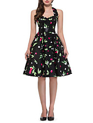 cheap -Women's Black Dress Active Cute Party Daily Swing Floral Halter Neck Patchwork Print S M / Cotton