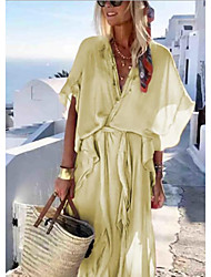 cheap -Women's Maxi Swing Dress - Short Sleeve Solid Colored V Neck Boho Yellow Blushing Pink S M L XL XXL XXXL XXXXL