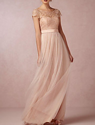 cheap -A-Line Jewel Neck Floor Length Lace / Tulle Bridesmaid Dress with Sash / Ribbon