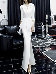 cheap -Sheath / Column V Neck Floor Length Satin Peplum / White Engagement / Formal Evening Dress with Ruffles / Split 2020