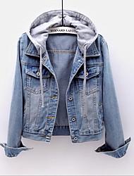 cheap -Women's Spring Fall Jacket Daily Casual Denim Regular Color Block Blue / Light Blue S / M / L