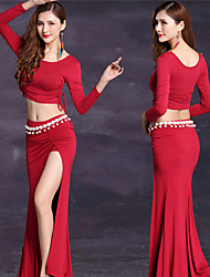 cheap -Women's Dancer Belly Dance Party Costume Tassel Sequins Modal Burgundy Black Skirts Top