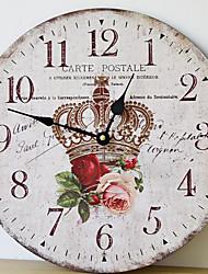 Недорогие -Деревянные дома настенные часы ангел картина украшения стены электронные часы