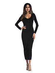 cheap -Women's Daily Going out Sexy Sophisticated Sheath Dress - Solid Color Rivet Black White S M L XL