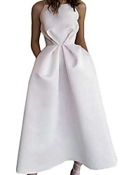 cheap -A-Line Minimalist White Engagement Cocktail Party Dress Halter Neck Sleeveless Tea Length Satin with Draping 2020