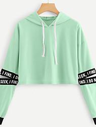 Недорогие -Жен. Толстовка Буквы На каждый день Белый Синий Розовый Зеленый S M L XL XXL