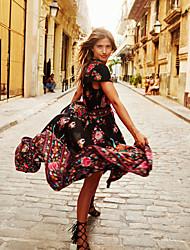 cheap -Women's Swing Dress - Print Black Maxi White S M L XL