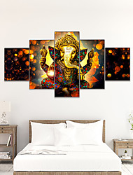 cheap -AMJ five piece set oil painting golden Buddha statue living room sofa background wall decoration painting canvas painting frameless painting core