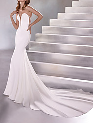 cheap -Mermaid / Trumpet Strapless Court Train Polyester Sleeveless Country Plus Size Wedding Dresses with Draping 2020