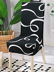 cheap -High Quality Printed Ribbon Spandex Chair Covers For Dining Room Chair Cover For Party Chair Cover For Wedding Living Room Chair Covers