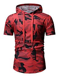 cheap -Men's Geometric Slim T-shirt Basic Daily Hooded Red / Green / Short Sleeve