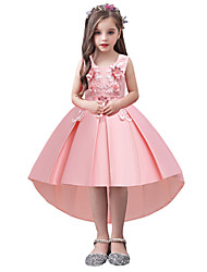 cheap -Kids Girls' Active Sweet Floral Solid Colored Embroidered Sleeveless Asymmetrical Dress Blushing Pink