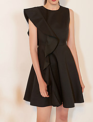 cheap -A-Line Little Black Dress Homecoming Cocktail Party Dress Jewel Neck Sleeveless Short / Mini Satin with Ruffles 2020