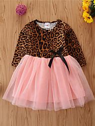 cheap -Baby Girls' Basic Leopard Long Sleeve Knee-length Dress Khaki