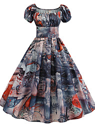 cheap -Women's Blue Dress Vintage Style Active Party Daily Swing Print Lantern Sleeve Square Neck Patchwork Print S M / Cotton