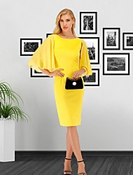 cheap -Women's Yellow Dress Spring Office Party Shift Solid Color Flared Chiffon S M