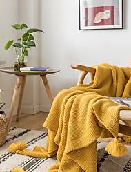 cheap -Bed Blankets / Sofa Throw / Multifunctional Blankets, Simple / Solid Color Acrylic Fibers Tassel Comfy Super Soft Blankets