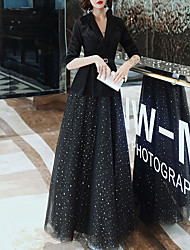 cheap -A-Line V Neck Floor Length Tulle Black Formal Evening / Party Wear Dress with Sequin / Sash / Ribbon 2020
