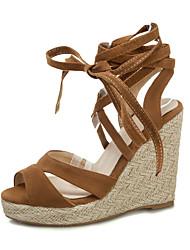 cheap -Women's Sandals Wedge Heel Open Toe PU Spring &  Fall Black / Light Yellow / Green