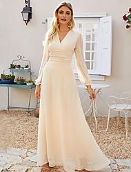 cheap -Women's Maxi Black Beige Dress Swing Solid Color V Neck Sequins Tassel Fringe S M