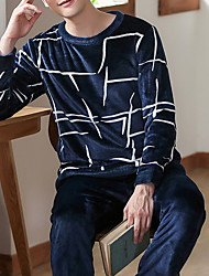 cheap -Men's Suits Nightwear White Dark Gray Navy Blue L XL XXL