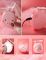 cheap -New Mini Cartoon Pig Makeup Mirro USB Rechargeable LED Fill Light Cute and Beautiful Fan Portable Handheld Mini Fan