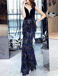 cheap -Mermaid / Trumpet V Neck Floor Length Sequined / Velvet Glittering / Blue Prom / Formal Evening Dress with Sequin / Tassel 2020