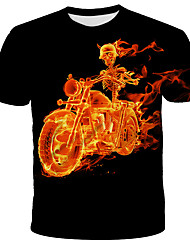 cheap -Men's Daily Holiday Street chic / Exaggerated T-shirt - 3D / Tie Dye / Flame Print Black