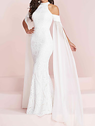 cheap -Mermaid / Trumpet Wedding Dresses Halter Neck Floor Length Polyester Short Sleeve Country Plus Size with Appliques 2021