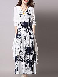 cheap -Women's Blue Black Dress Shift Print V Neck M L
