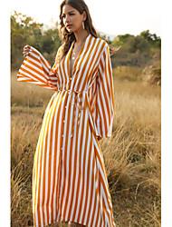 cheap -Women's Holiday Going out Casual Street Maxi chic Shirt Dress - Striped Black Yellow Blushing Pink S M L XL