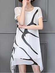 cheap -Women's White Black Dress Shift Color Block M L