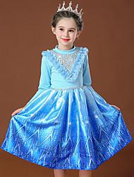 cheap -Princess Elsa Dress Flower Girl Dress Girls' Movie Cosplay Cosplay Costume Party Pink / Blue Dress Sequin Polyster