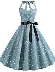 cheap -Women's Light Blue Dress Vintage Style Active Party Daily Swing Polka Dot Halter Neck Patchwork Print S M / Cotton