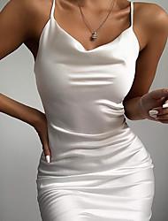 cheap -Women's Sheath Dress - Solid Color Black White Blushing Pink M L XL XXL