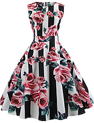 cheap -Women's Black Dress Cute Street chic Party Daily Swing Striped Floral Patchwork Print S M / Cotton