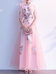 cheap -A-Line Chinese Style Pink Prom Formal Evening Dress High Neck Half Sleeve Floor Length Tulle with Embroidery Appliques 2020