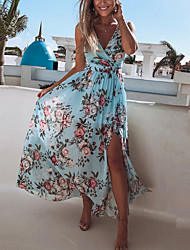 cheap -Women's Maxi Yellow Blushing Pink Dress Sexy Beach Style A Line Swing Floral Print V Neck Floral Long S M