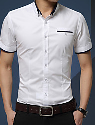 cheap -Men's Solid Colored Shirt Daily White / Red / Yellow / Blushing Pink / Royal Blue / Navy Blue / Gray / Light Blue / Short Sleeve