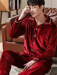 cheap -Men's Suits Nightwear Wine Blushing Pink Light Blue L XL XXL