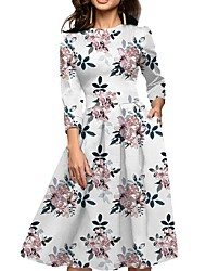 cheap -Women's A Line Swing Dress - Floral Vintage Style Pocket White S M L XL