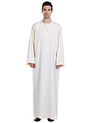 cheap -Men's Daily Basic Spring &  Fall Long Abaya, Solid Colored Round Neck Long Sleeve Polyester Patchwork Black / White / Beige