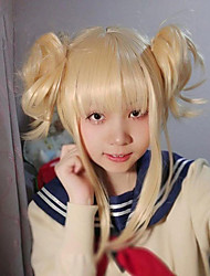 cheap -My Hero Academia Boko No Hero Himiko Toga Cosplay Wigs Women's Straight bangs 11 inch Heat Resistant Fiber Plaited Blonde Blonde Anime