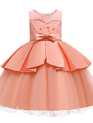 cheap -Kids Girls' Active Cute Solid Colored Peplum Beaded Bow Sleeveless Knee-length Dress White