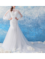 cheap -Mermaid / Trumpet Jewel Neck Court Train Chiffon / Tulle Long Sleeve Formal Illusion Detail / Plus Size Wedding Dresses with Draping / Lace Insert / Appliques 2020