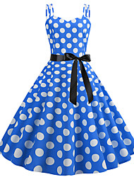 cheap -Women's Blue Dress Cute Street chic Party Daily Swing Polka Dot Strap Patchwork Print S M / Cotton