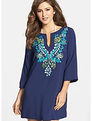 cheap -Women's Shift Dress - Floral Blue One-Size